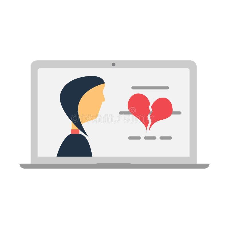 Hart gebroken pictogram en een bericht in laptop het scherm vector illustratie