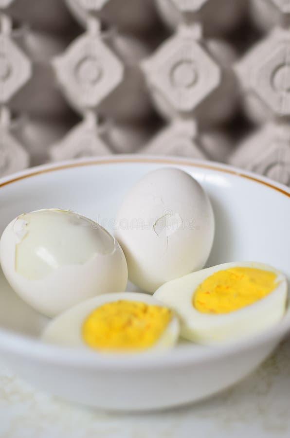 Hart gesotten Eier mit Karton lizenzfreie stockbilder