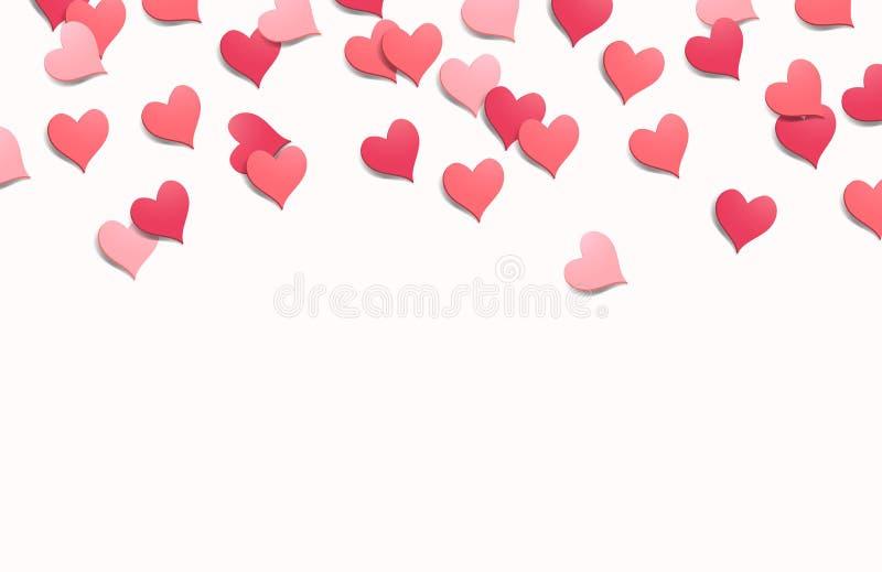 Hart Gestalte gegeven Confettienachtergrond vector illustratie