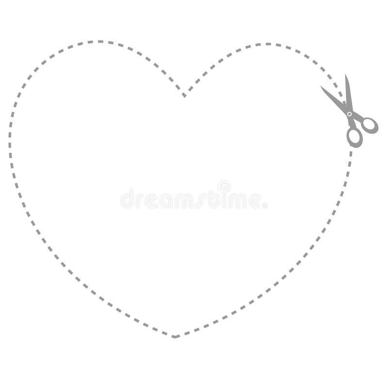 Hart gestalte gegeven coupongrens vector illustratie