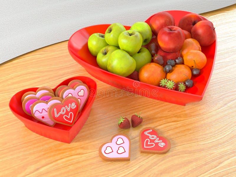 Hart gestalte gegeven fruitkom en van de koekjeskom valentijnskaartenconcept royalty-vrije stock fotografie