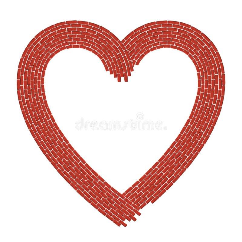 Hart gestalte gegeven grens die uit rode bakstenen bestaan royalty-vrije illustratie