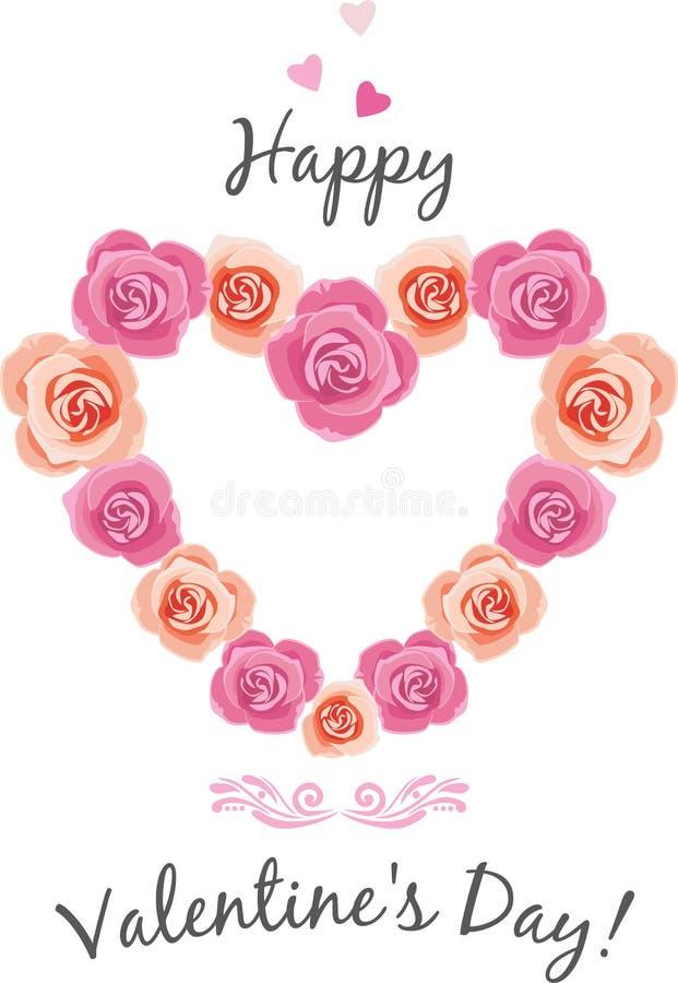 Hart gestalte gegeven kader van roze rozen royalty-vrije illustratie