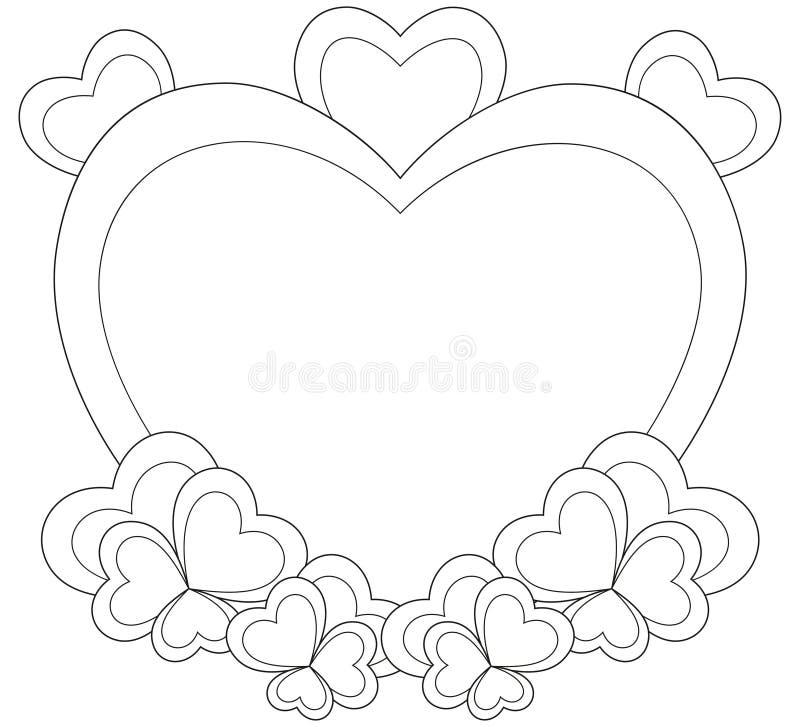 Hart gestalte gegeven kader voor de kaart van de valentijnskaartdag stock illustratie