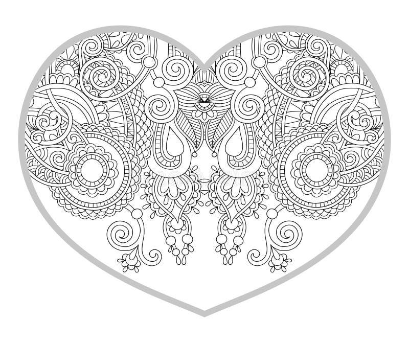 Hart gestalte gegeven patroon voor volwassen en oudere kinderen die boek kleuren royalty-vrije illustratie