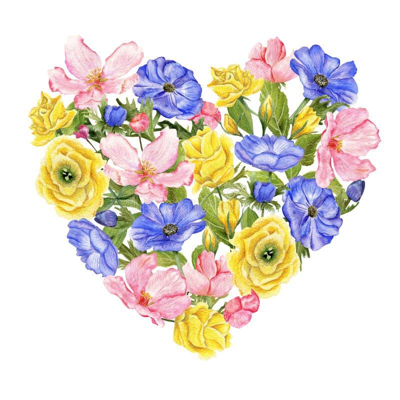 Hart gestalte gegeven reeks bloemen royalty-vrije illustratie