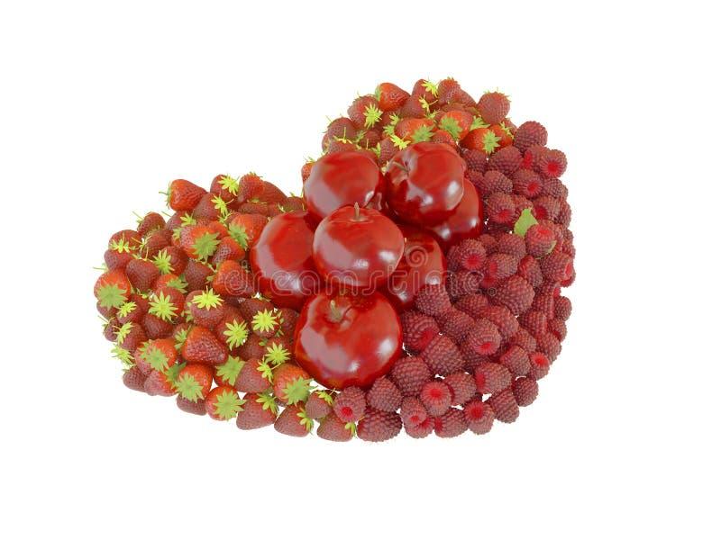 Hart gestalte gegeven vruchten geïsoleerde perspectiefmening royalty-vrije stock afbeelding