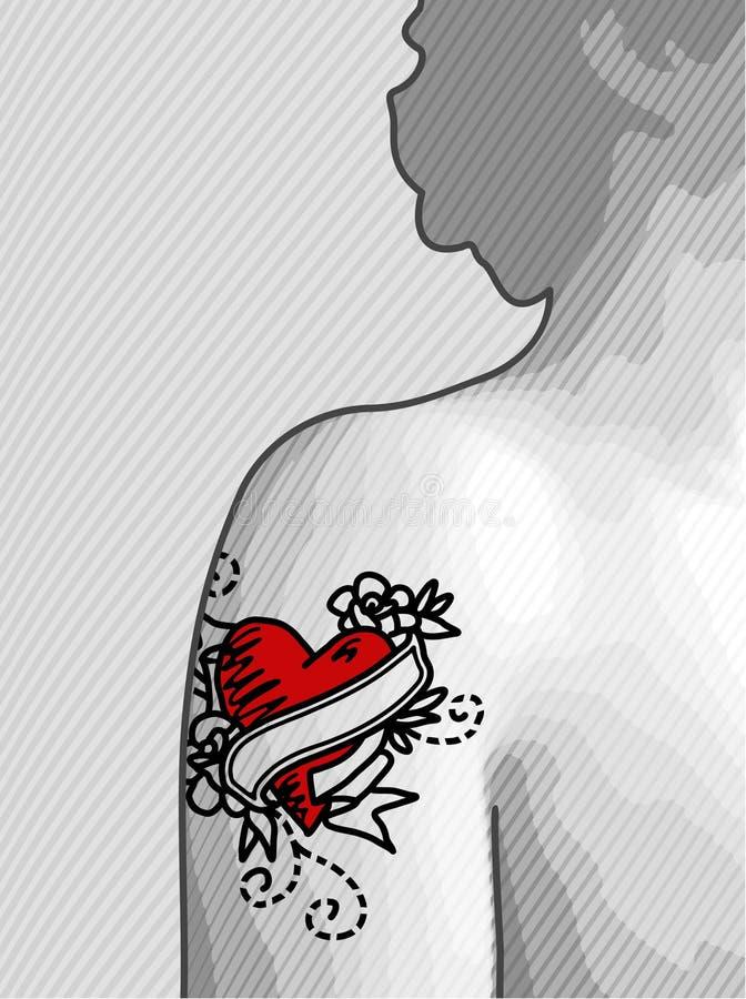 Hart getatoeërde schouder stock illustratie