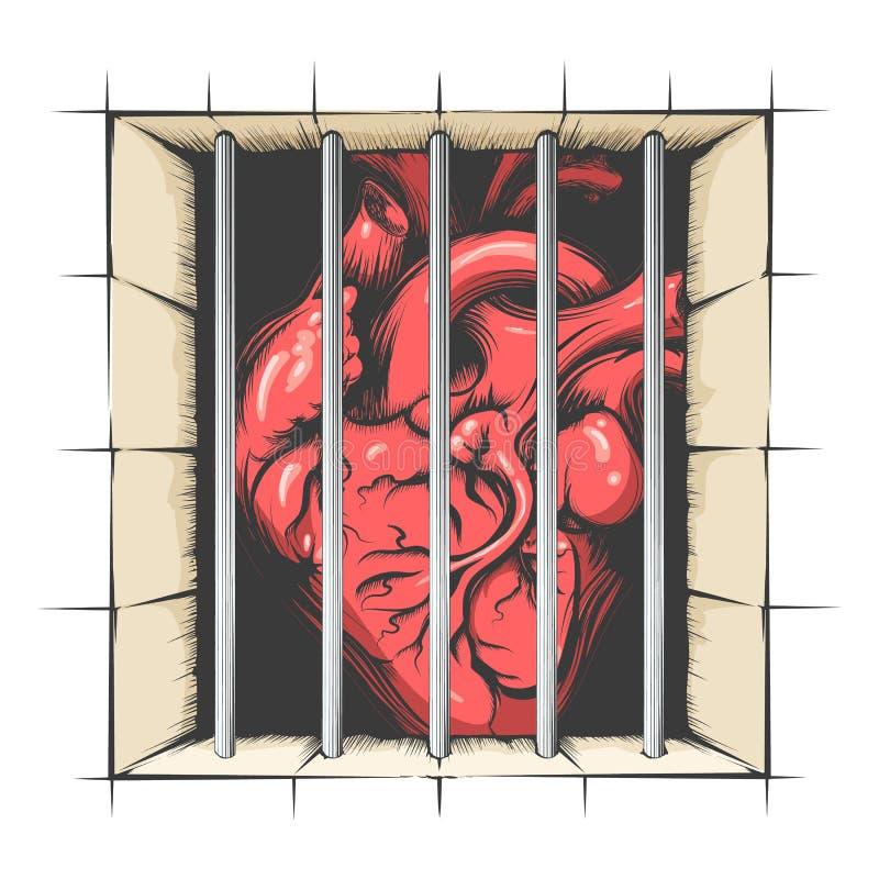 Hart in gevangenis vector illustratie