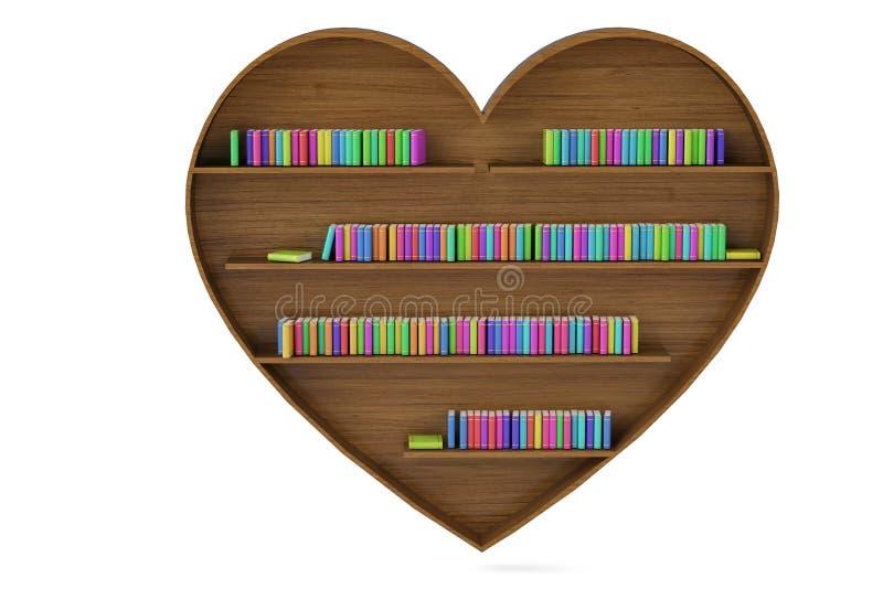Hart gevormd boekenrek en kleurrijke boekstapels op witte backgro stock afbeeldingen
