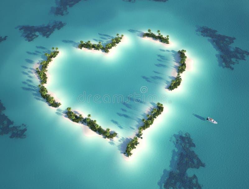 Hart gevormd eiland royalty-vrije illustratie