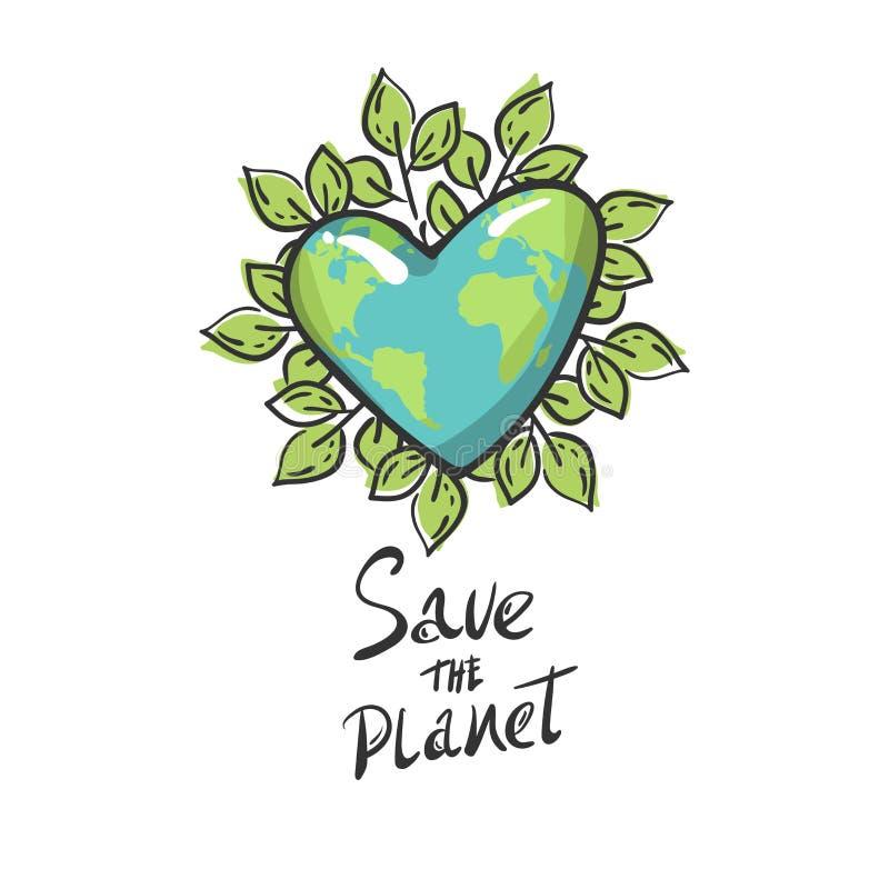 Hart gevormde aarde met bladeren, Beeldverhaalbol groene geïsoleerde cirkel Het conceptenembleem van de besparingsplaneet de aard stock illustratie