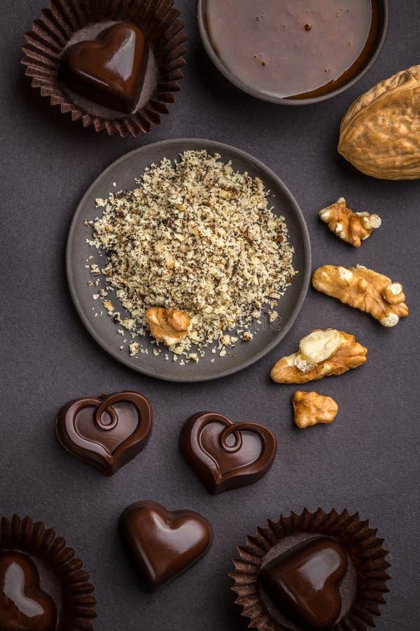 Hart gevormde chocoladepraline stock foto's