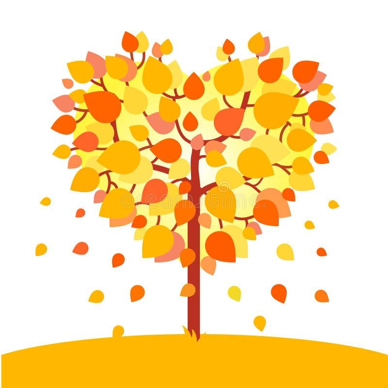 Hart gevormde de herfstboom Het concept van de dalingsliefde vector illustratie