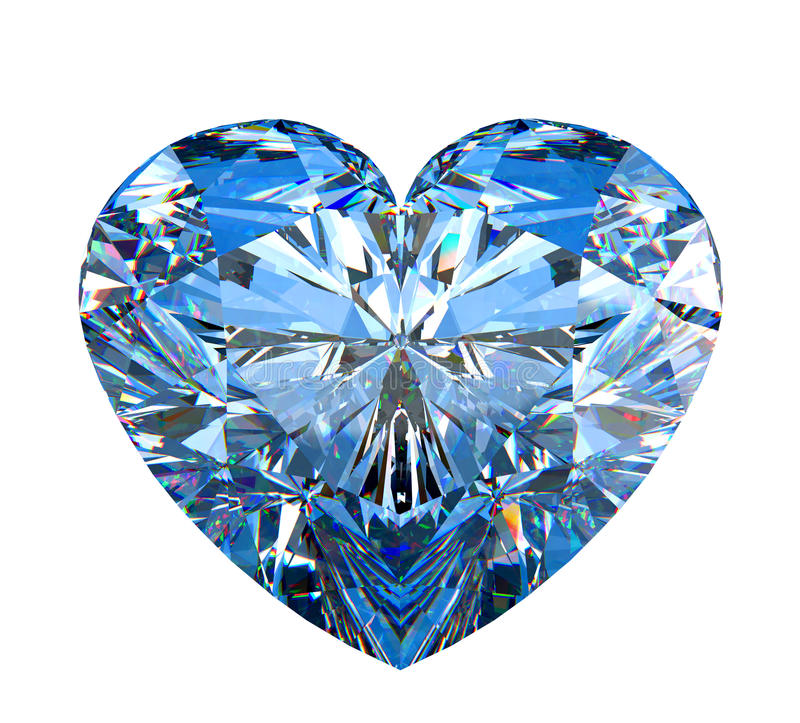 Hart gevormde diamant die op wit wordt geïsoleerdj vector illustratie