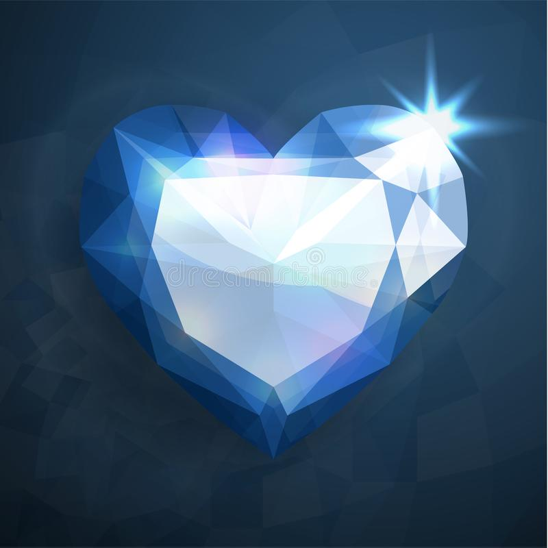 Hart gevormde diamant vector illustratie