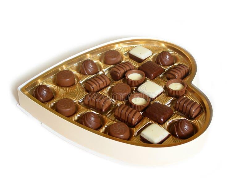 Hart gevormde doos chocolade royalty-vrije stock foto's