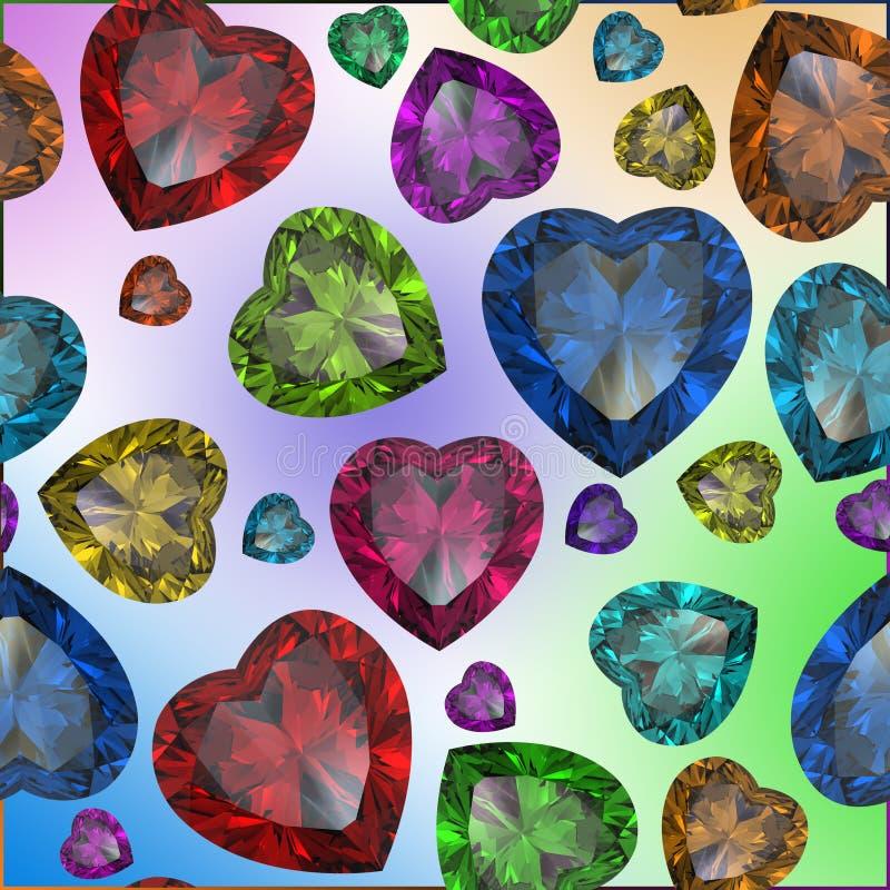 Hart gevormde geïsoleerdet Diamant vector illustratie