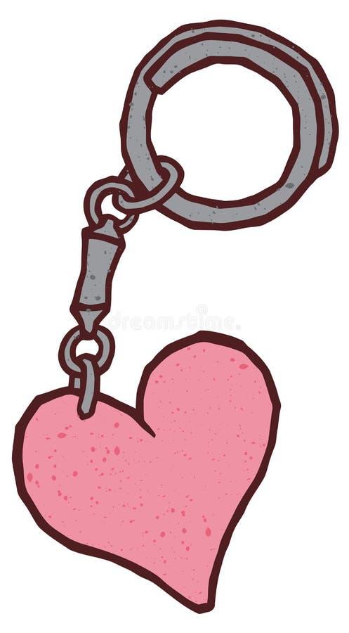 Hart gevormde keychain charmetrinket tegenhanger royalty-vrije illustratie