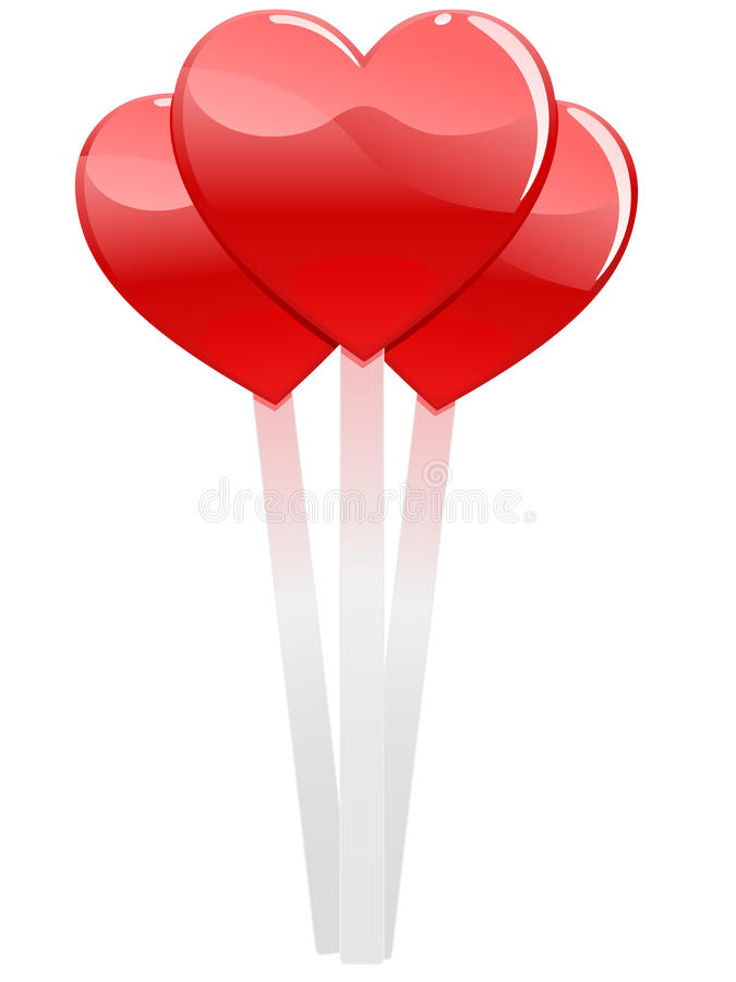 Hart Gevormde Lollys vector illustratie