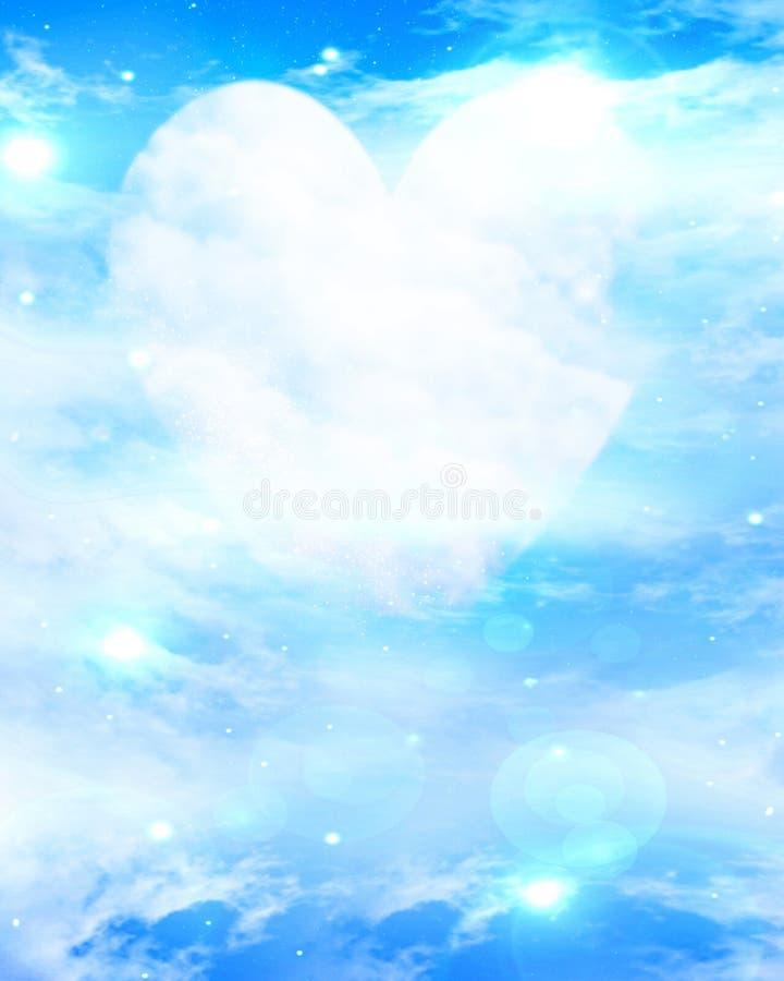 Hart gevormde maan in blauwe hemel stock illustratie