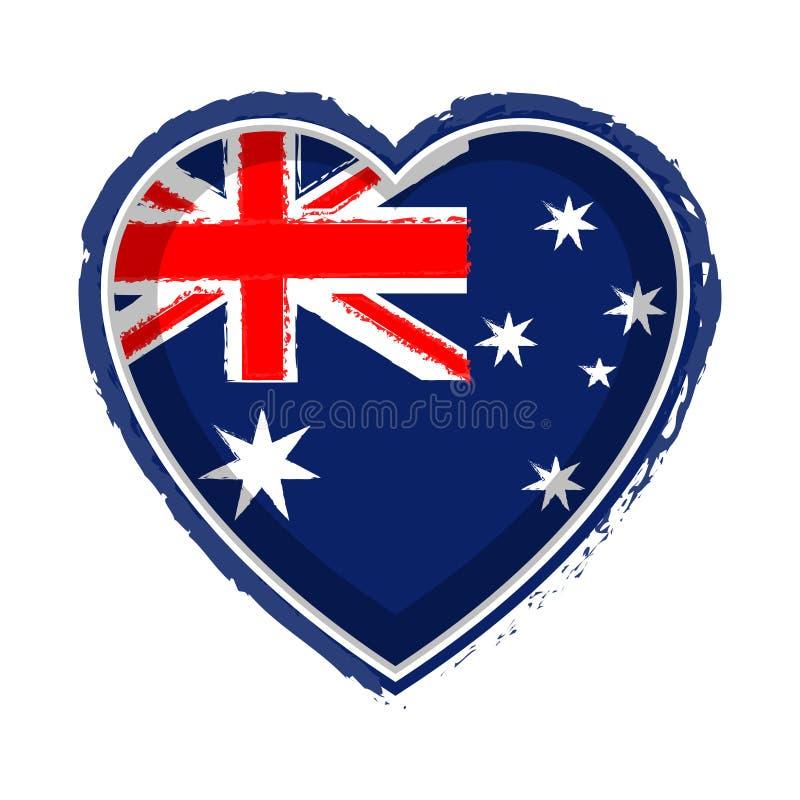 Hart gevormde vlag van Australië royalty-vrije illustratie