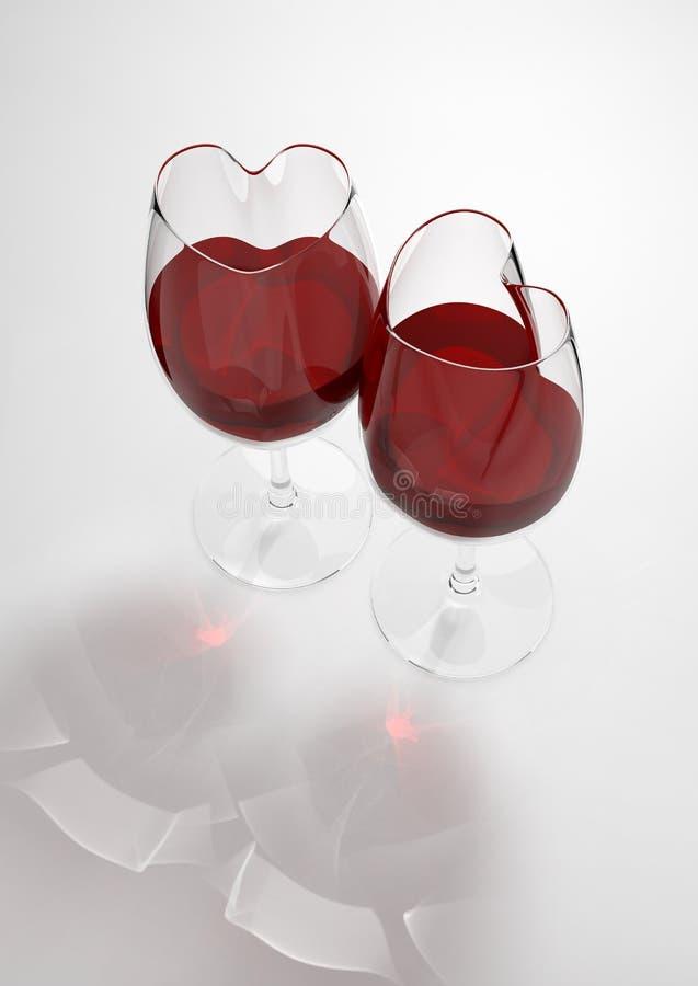 Hart gevormde wijnglazen die met liefdevergift worden gevuld royalty-vrije illustratie