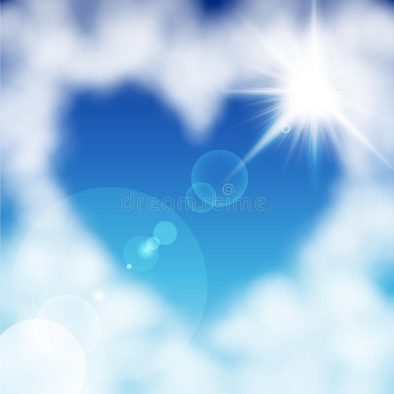 Hart gevormde wolk in de blauwe hemel stock illustratie