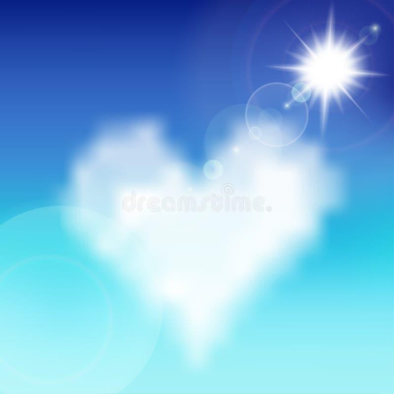 Hart gevormde wolk in de blauwe hemel royalty-vrije illustratie