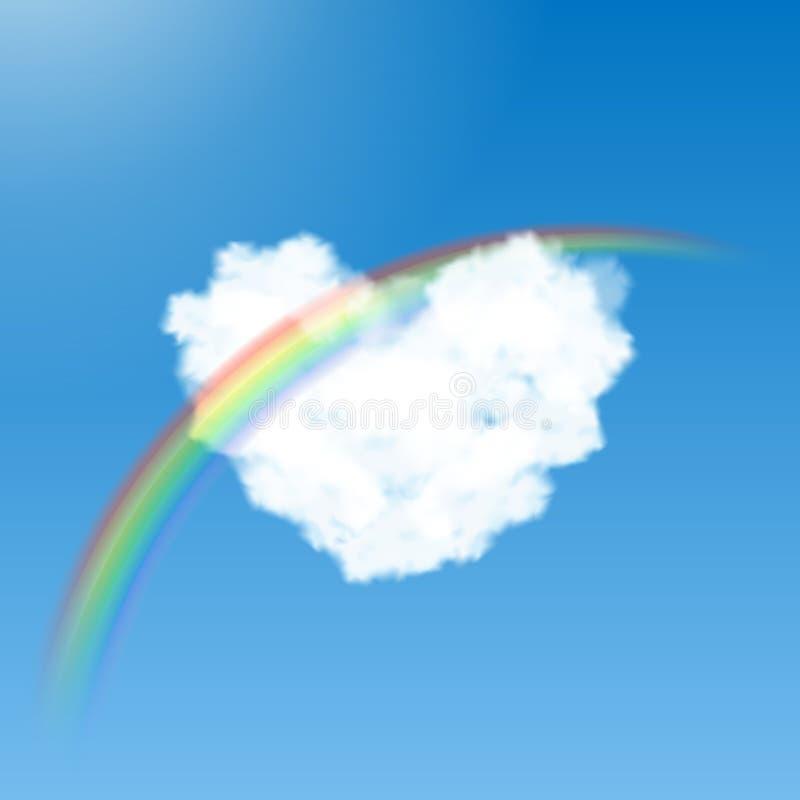 Hart gevormde wolk en regenboog stock illustratie
