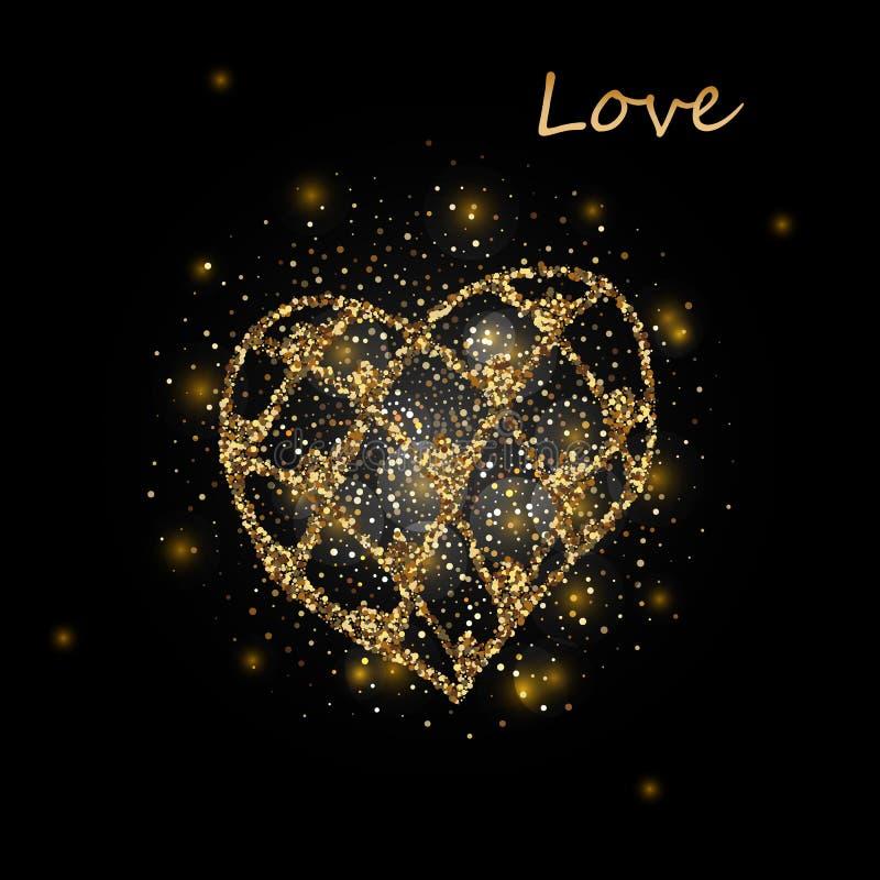 Hart Hart Gouden Hart Liefde Romantisch Hart Gouden Hart vector illustratie