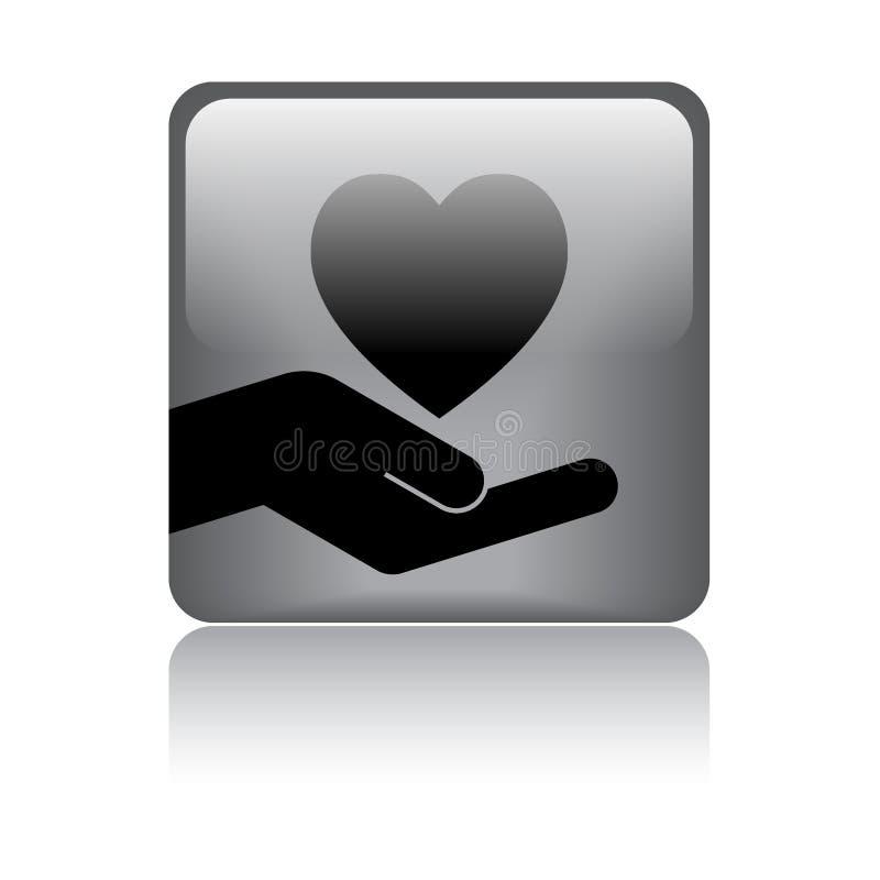 Hart in hand embleem vector illustratie