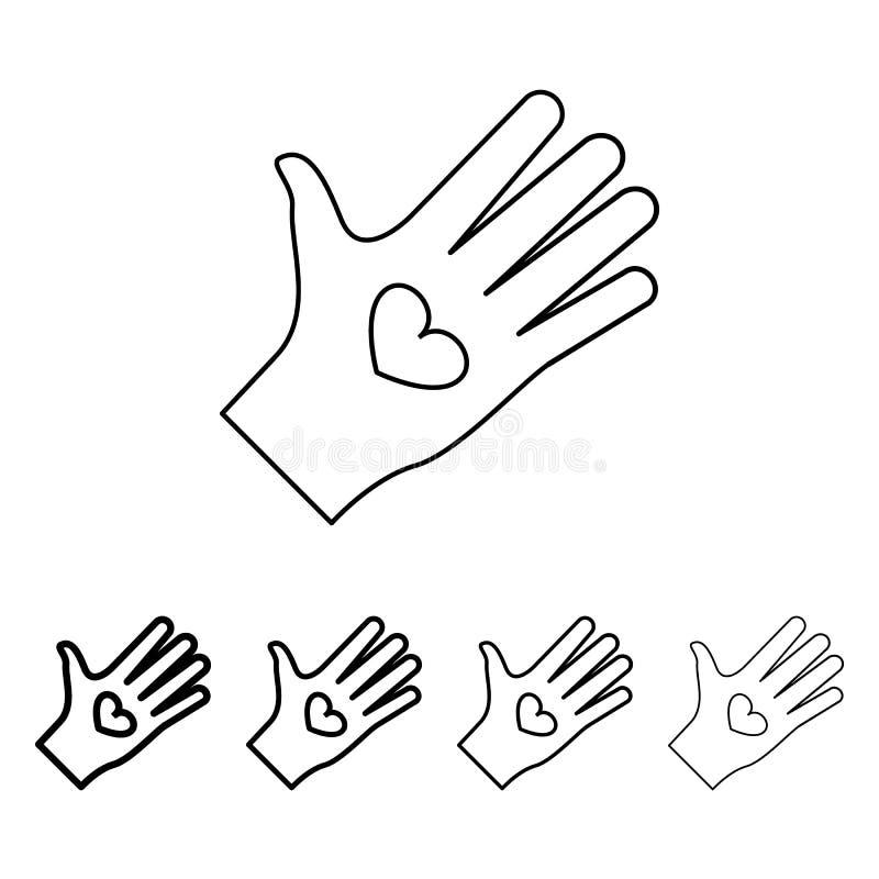 hart in handenpictogram in verschillende diktestijl Één van Valentine-inzamelingspictogram kan voor UI, UX worden gebruikt vector illustratie