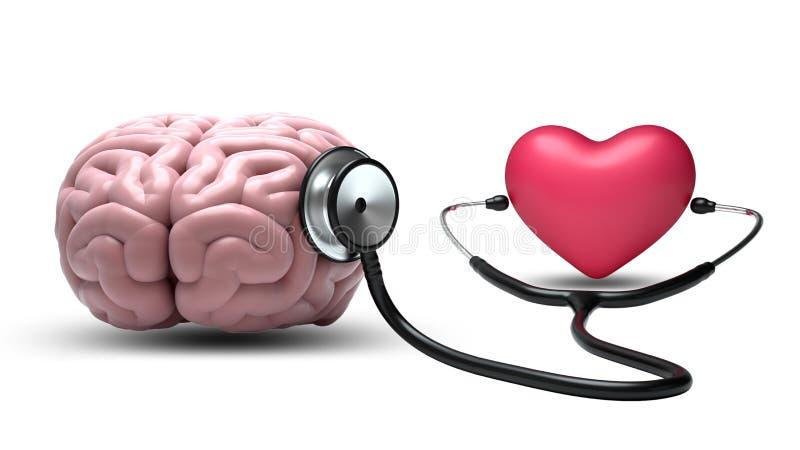 Hart het luisteren hersenen met stethoscoop op witte achtergrond royalty-vrije illustratie
