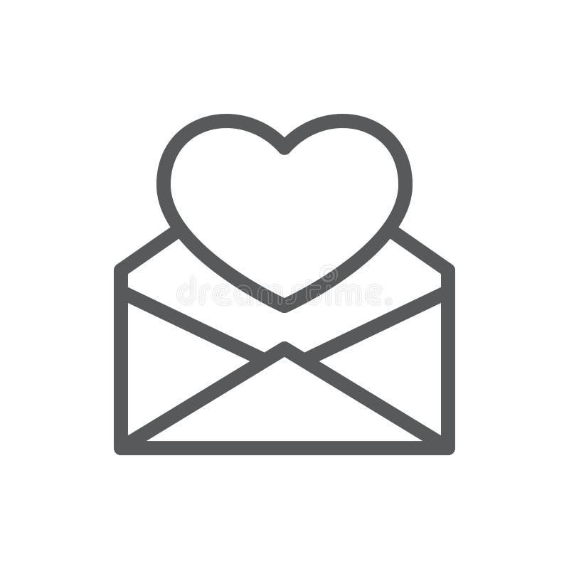 Hart in het open pictogram van de enveloplijn met editable slag vector illustratie