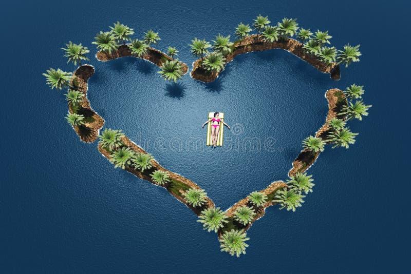 hart in het overzees stock illustratie