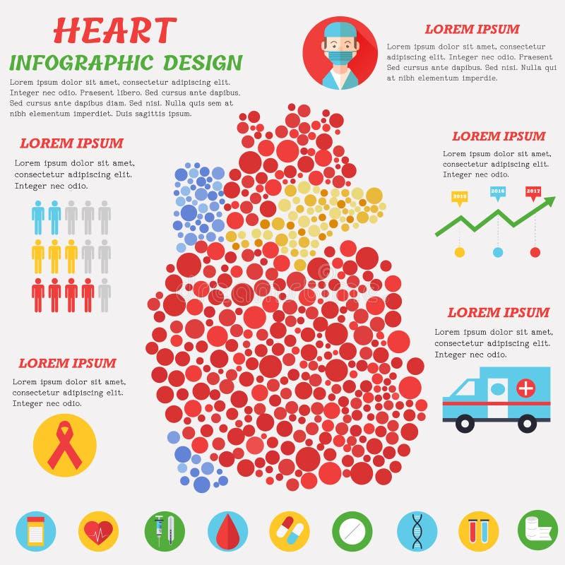 Hart infographic met symbolen, tekst en grafisch vector illustratie