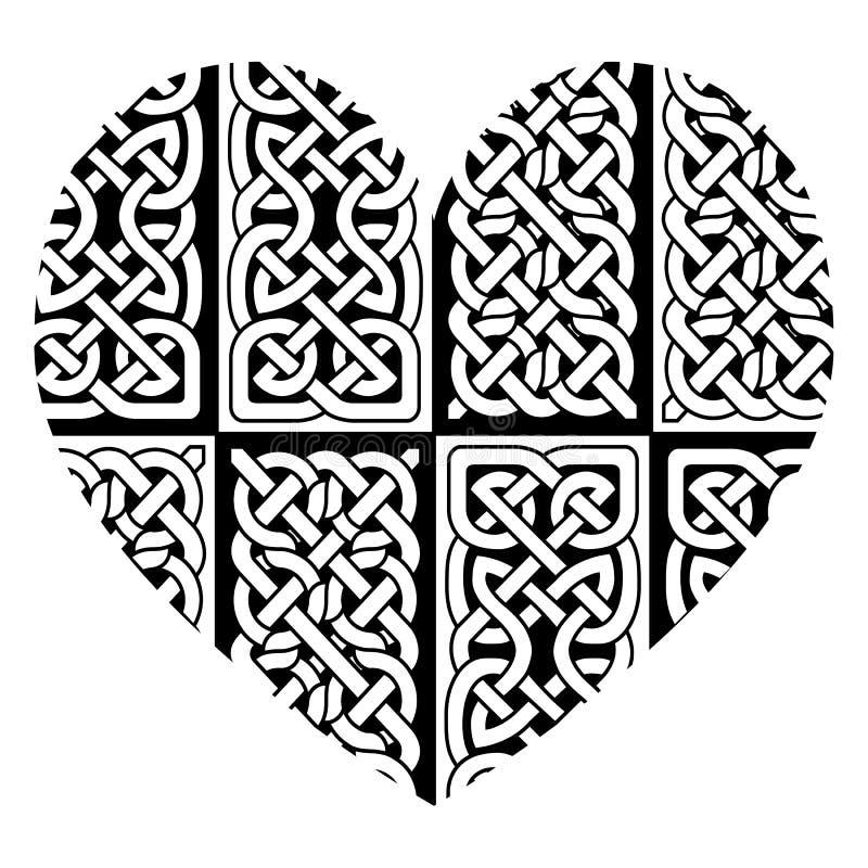 Hart in Keltische stijl met de basispatronen die van de eeuwigheidsknoop zwart-wit invullen geïnspireerd tegen Ierse St Patricks  stock illustratie
