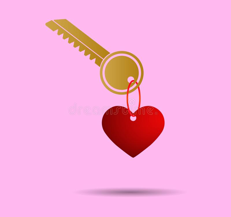 Hart keychain op zeer belangrijke, roze achtergrond wordt gevormd die royalty-vrije illustratie