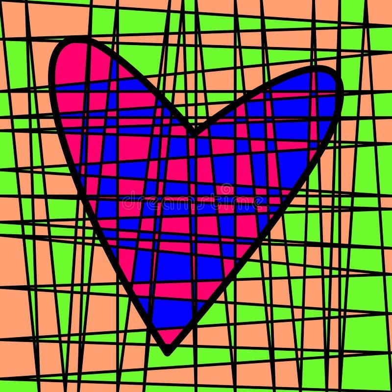 Hart kleurrijk betegeld lapwerk Gekleurd perceel royalty-vrije illustratie