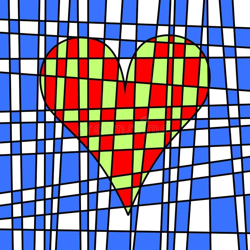 Hart kleurrijk betegeld lapwerk Gekleurd perceel stock illustratie