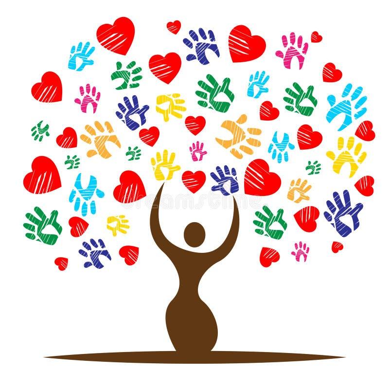Hart Kleurrijke Middelen Valentine Day And Childhood vector illustratie