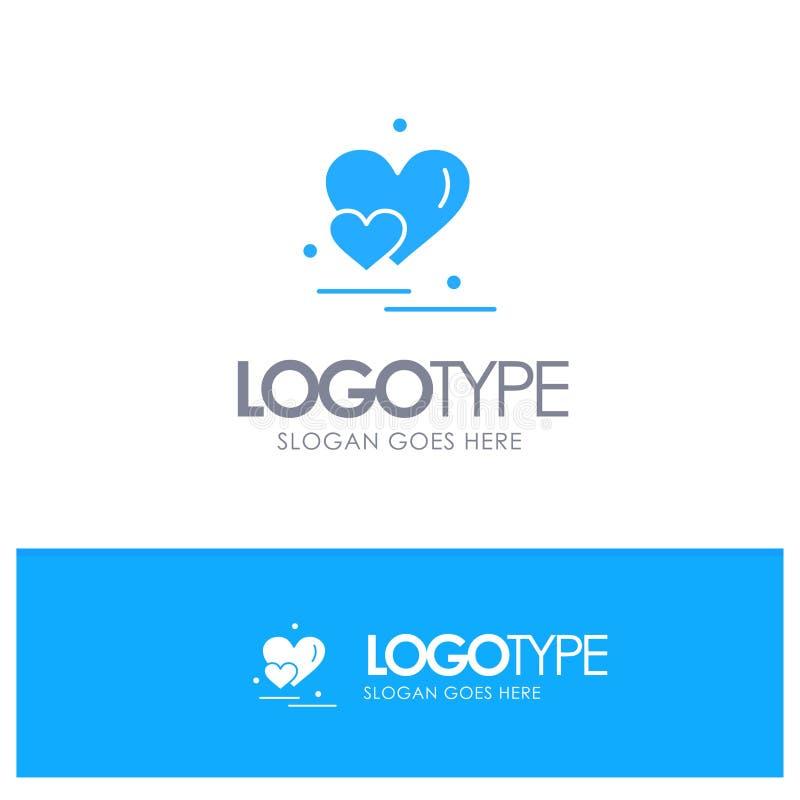 Hart, Liefde, Paar, Valentine Greetings Blue Solid Logo met plaats voor tagline stock illustratie