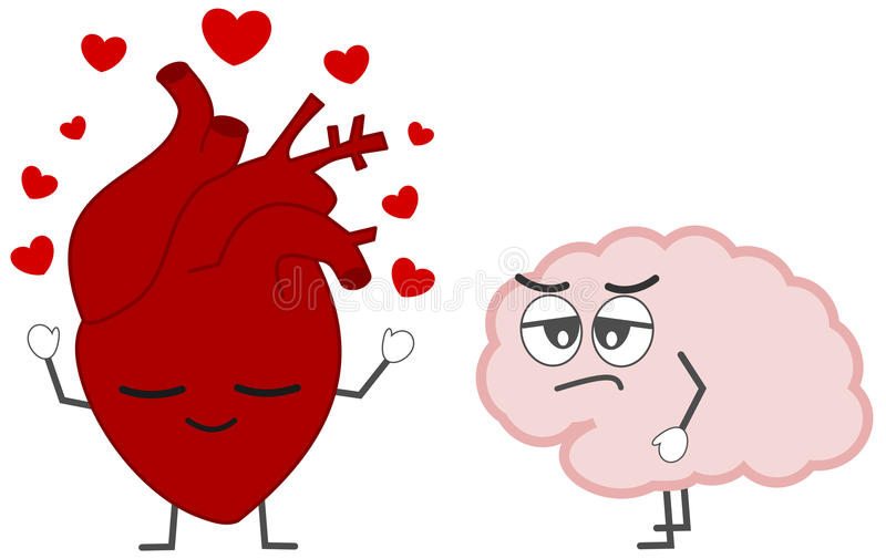 Hart in liefde tegenover het beeldverhaalillustratie van het hersenenconcept stock illustratie