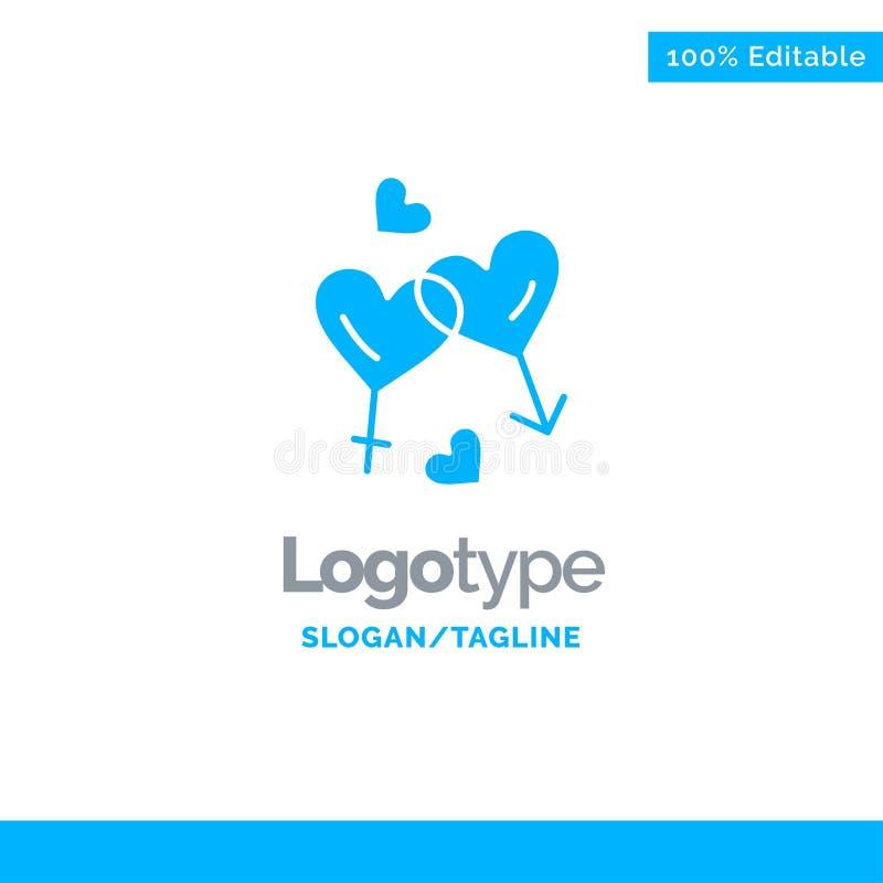Hart, Man, Vrouwen, Liefde, Valentine Blue Solid Logo Template Plaats voor Tagline vector illustratie
