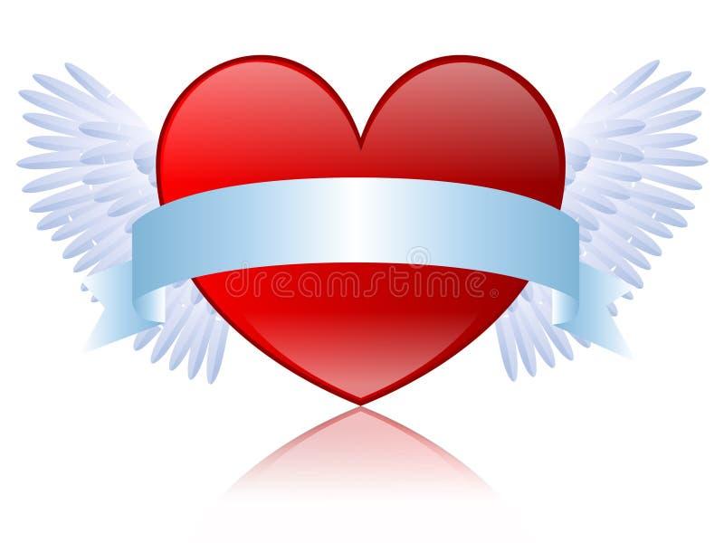 Hart met banner stock afbeelding