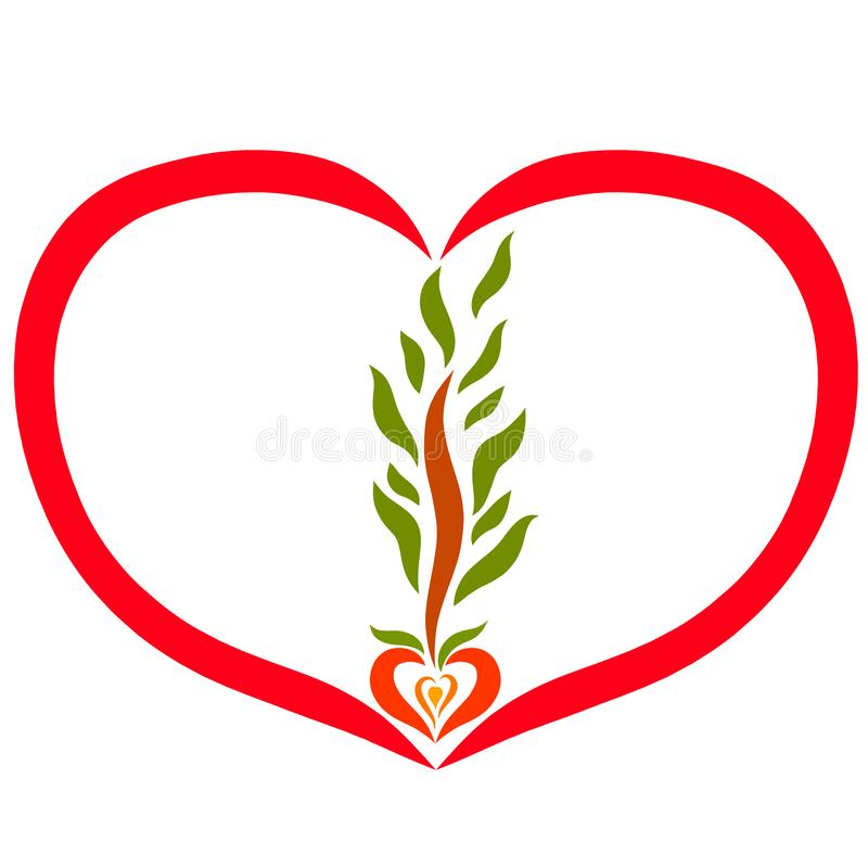 Hart met boom het voortkomen uit zaad stock illustratie