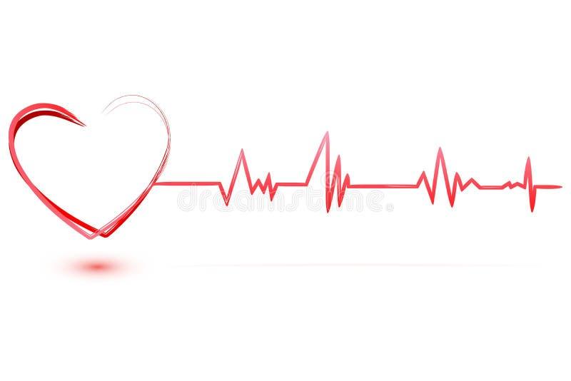 Hart met cardiologie stock illustratie