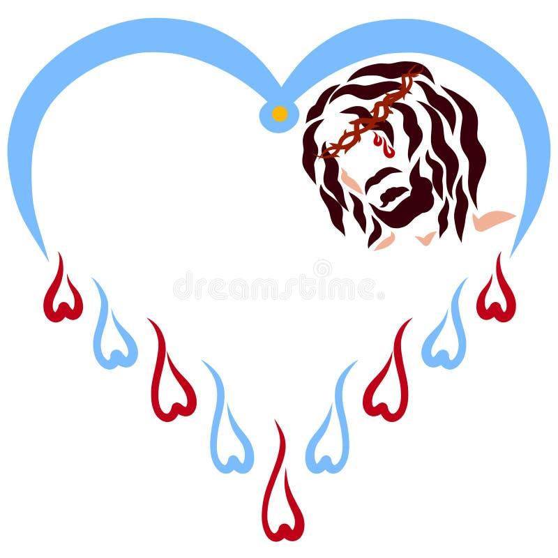 Hart met dalingen van bloed en water en het hoofd van een gekruisigde Verlosser vector illustratie