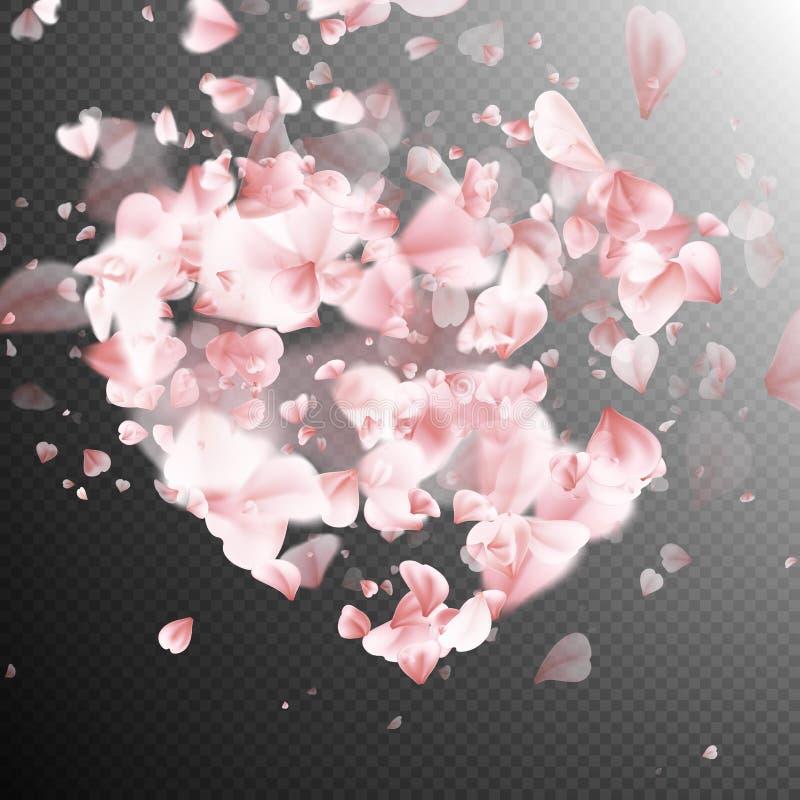Hart met de dalende bloesem van bloembloemblaadjes Eps 10 vector illustratie